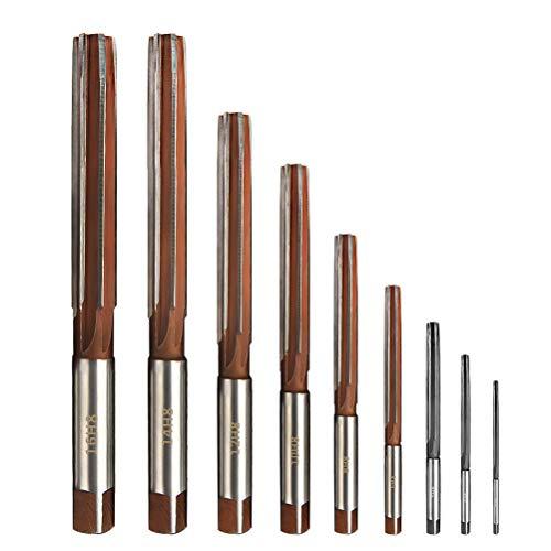YOTINO Reibahle Fräser Hochgeschwindigkeitsstahl(HSS) gerade Schaft H8 Handreibahlen Set 3mm,4mm,5mm,6mm,8mm,10mm,12mm,14mm,16mm(9 Stück)