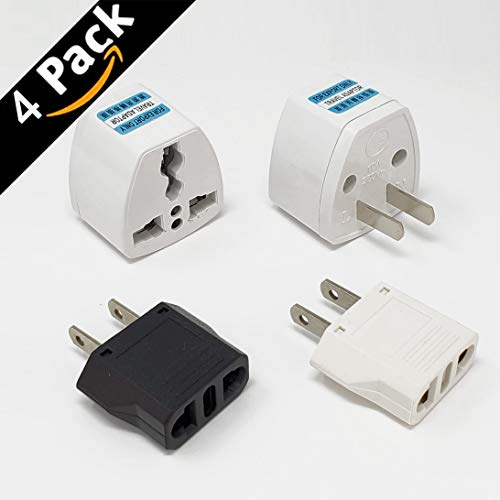 Generic Universal Power Plug Travel Converting Adapter Converting from EU/UK/CN/AU to USA(2PCS)