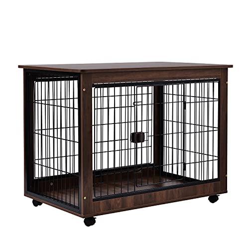 犬 ケージ ゲージ 屋根付き 99*64*75cm 木目調 サークル 犬 犬用 ペット ペット用