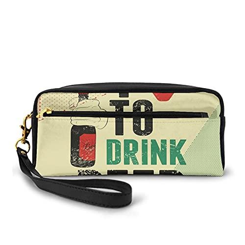 Con bolsa de lápiz con cremallera, me encanta beber cerveza caligrafía con una mano que sostiene la botella de alcohol Grunge, estuche pequeño bolsa de maquillaje
