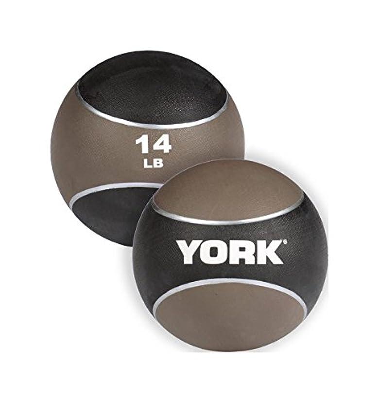 油コットン出席York Barbell 65114 14ポンド 2トーンメディシンラバーボール、ブラウン、14ポンド。