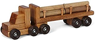 Amish-Made Wooden Semi Log Truck Toy