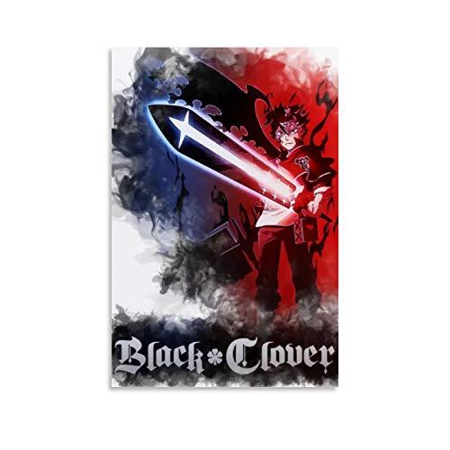DRAGON VINES Póster de anime con trébol negro doble espada Asta Art Canvas Print Living Room Modern Home Decor enmarcado listo para colgar 24 x 36 pulgadas (60 x 90 cm)