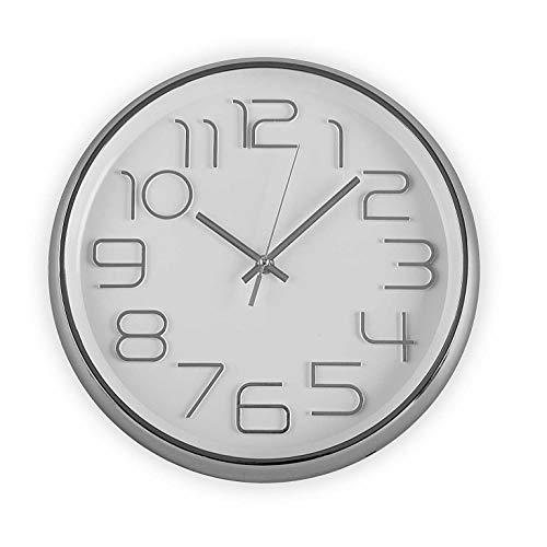 Versa - Geräuschlose und dekorative Wanduhr für die Küche, das Wohnzimmer, Esszimmer oder Schlafzimmer. Runde Uhr mit einem Durchmesser von 30 cm. Farbe Weiß und Silber.