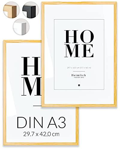 Heimlich Paquete Doble (2 pcs.) Marcos de Madera con plexiglás inastillable - DIN A3 (30x42cm) Marrón