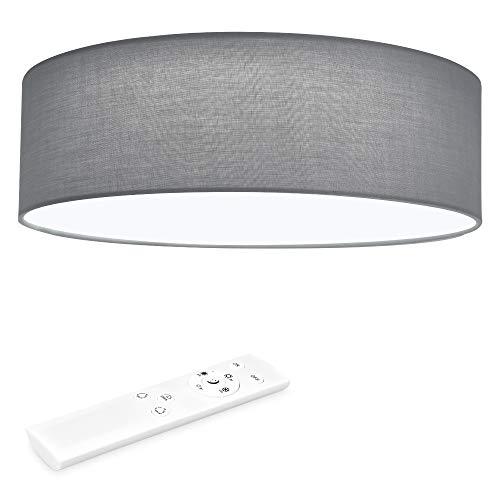 Navaris LED Deckenleuchte rund mit Fernbedienung - dimmbar - 22 Watt 970 Lumen - Stoff Deckenlampe Stoffbezug Hellgrau - verstellbare Farbtemperatur