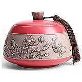 Tmendy Funeral Urn for Erwachsene Asche, Menschen oder Tier-Memorial Urnen, chinesische Art-handgemachte Keramik handgemalter Andenken-Urne zu Hause oder Friedhof oder Nischen (Color : Red)