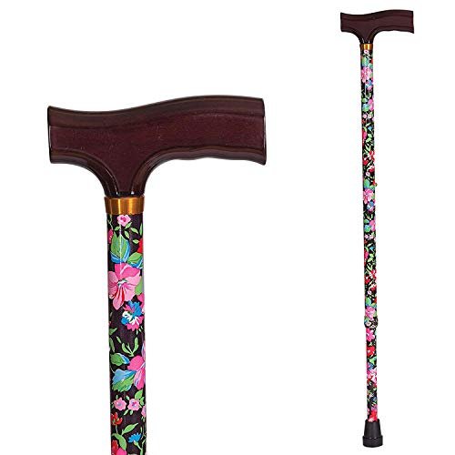 DMI Lightweight Aluminum Walking Cane with Derby-Top Handle, Floral