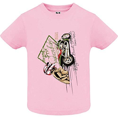 LookMyKase T-Shirt - Super Bike Rider - Bébé Fille - Rose - 18mois