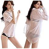 FUPUONE レディース白シャツ 彼シャツ風 ワンピースシャツ 透け感あり S-XLサイズ (XL)