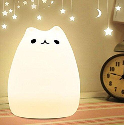 Night Light LED Silicone Cute Kitty lampada da letto 7 USB Colore della luce della lampada ricaricabile Tap sensibile controllo (Sorriso Gatto)