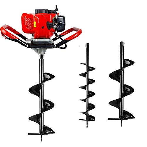 ECO LLC 1-Person 52cc 2-Cycle Earth Auger Powerhead with Two Earth Auger Drill Bit 6' & 10'