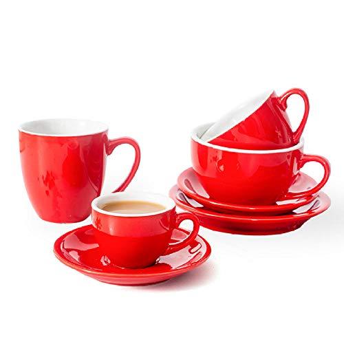 AOARR Boccale Birra Tazza da caffè Smalto di Colore Rosso Set di Piccoli Lussi Europei Set di Piattini da caffè in Tazza di Latte in Ceramica Set-A Set di Tazze 3 Piattini da 4 Tazze