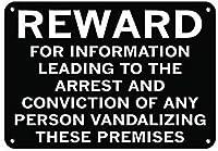 屋内と屋外に簡単に取り付けられ、ASを破壊する人の逮捕を導く情報に対する報酬、公園の看板公園ガイドABC警告標識私有財産のための金属屋外の危険標識