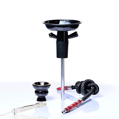 Shisha Hooksh Set/Kit Tragbar Portable Aluminium mit Kamin Keramik Rohr Stange Kohlenklammer Geeignet für die Meisten Plastikflaschen Glasflasche Wein Champagner– Schwarz
