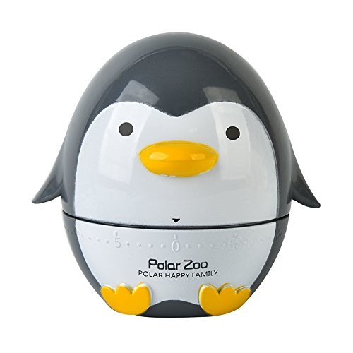 Golandstar Cute Cartoon Penguin Timers 60 Minutes Mechanical Kitchen Cooking Timer Clock Loud Alarm Counters Mini Size Manual Timer (Black)
