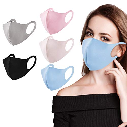 Aujelly 5 Stück Eisseide Mundschutz für Erwachsene Wiederverwendbar waschbar Staubdicht Atmungsaktiv Mund-Nasen Bedeckung Halstuch Schals B001 (Erwachsene, Eisseidenstoff-B)