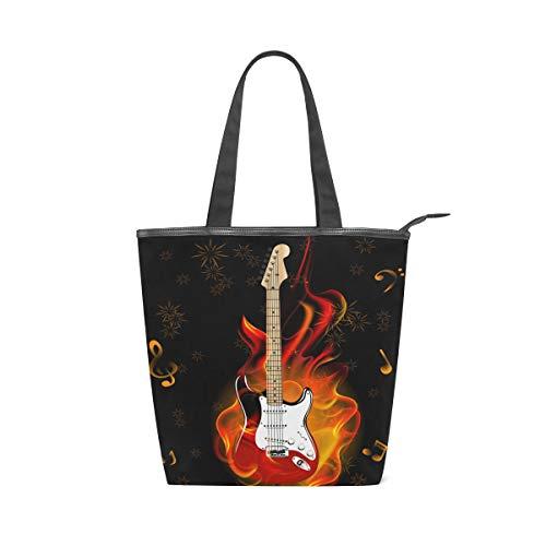Irud Canvas Tote Bag Musiknote Brennen Gitarre Feuerwerk Wiederverwendbare Schultertasche Frauen Hand Tote Einkaufstasche für Einkaufen Alltag Arbeit Schule Reisen