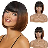 Beauart 10' Human Hair Short Bob Wigs with Bangs for Black Women Ombre Black to Brown Straight Bob Cut Brazilian Remy Real Hair Replacement Full Wig