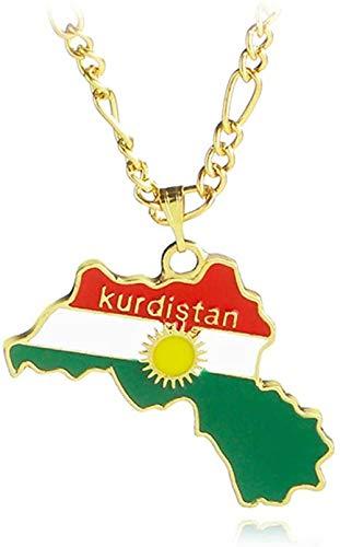 TYWZH Collar Colorido Mapa Colgante Collar Kurdistán mapas Collar joyería para Mujeres Hombres Regalo N
