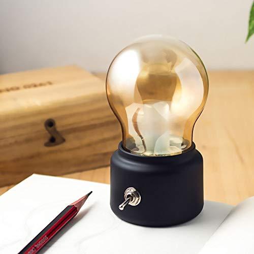 Lámpara de escritorio LED ABS + Forma de bombilla de vidrio LED Retro nostálgico USB Batería recargable Lámpara de escritorio Luz de noche lámpara de escritorio flexible del LED ( Color : Black )