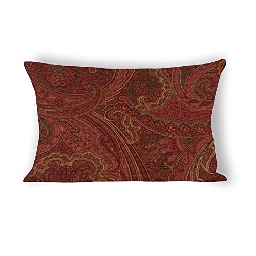 Funda de almohada de 50,8 x 76,2 cm, diseño vintage de cachemira, vino salvia MoJo, funda de almohada decorativa de lino y algodón, para sofá, ropa de cama y decoración del hogar
