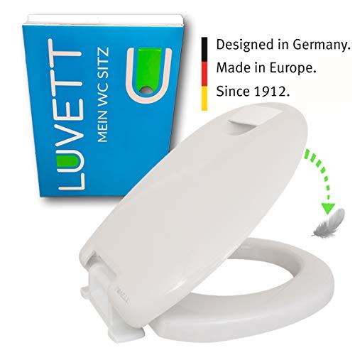 LUVETT® PREMIUM WC-SITZ C601 Care Comfort Toilettensitzerhöhung oval Absenkautomatik Duroplast, extra stabiles Scharnier & solide Befestigung, Farbe:Weiß