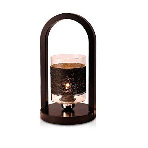 Chinois Simple Style Creative Lanterne Lampe de Bureau Chambre Chevet Salon Étude Bureau de Travail Lampe de Bureau, Lampe en Bois, Abat-Jour en Verre, E27 (Color : Black)