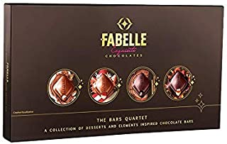 Fabelle – The Bars Quartet, Assorted Gift Box with Centre-Filled Luxury Chocolate Bars Inspired from Elements and Desserts...