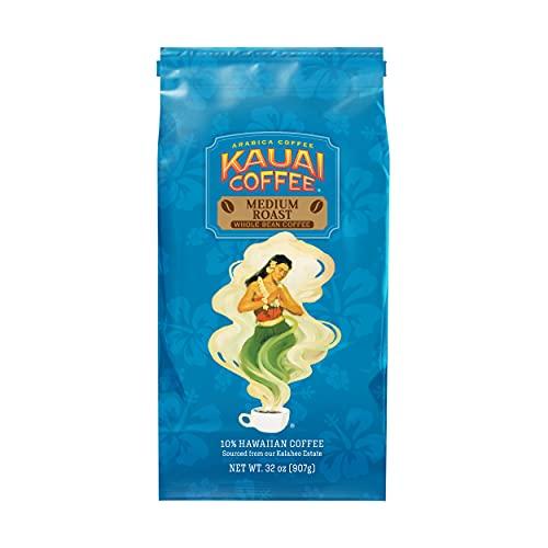 Kauai Whole Bean Coffee, Koloa Estate Medium Roast – 100% Premium Arabica Whole Bean Coffee from...