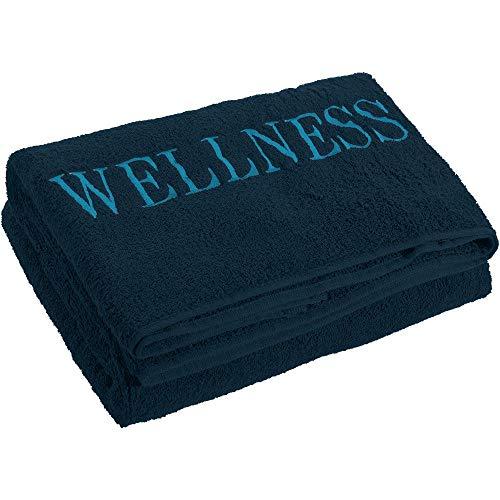 aqua-textil Wellness Saunatuch Doppelpack XXL 90 x 220 cm Uni dunkel blau Baumwolle Frottee Sauna Handtuch Strandtuch