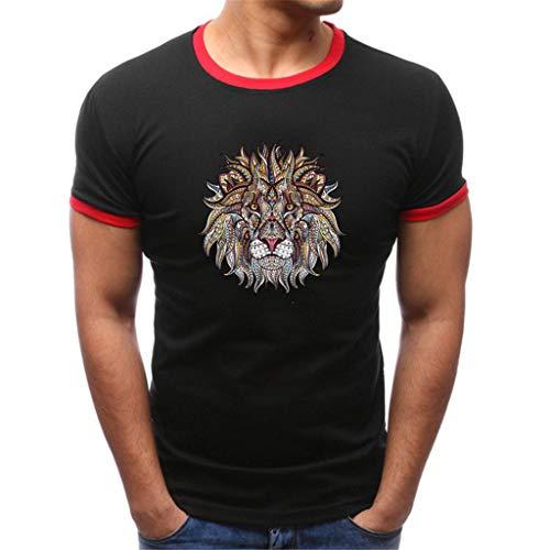 Karinao - Camiseta de manga corta para hombre, para el gimnasio y entrenamiento, ajustada, con cuello redondo, color Negro, talla Large