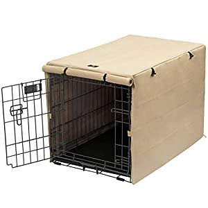 X-ZONE PET Double Door Dog Crate Cover – Polyester Pet Kennel Cover (Fits 24 30 36 42 48 inches Wire Crate) (24 Inch, Tan)