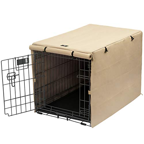 X-ZONE PET Double Door Dog Crate Cover - Polyester Pet Kennel Cover (Fits 24 30 36 42 48 inches Wire Crate) (48Inch, Tan) Covers Kennel