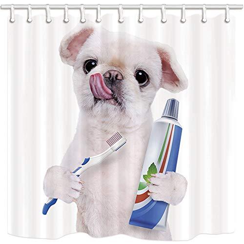 Tende da doccia per cani, simpatico cane bianco prendere spazzolino da dentifricio su sfondo bianco Tessuto in poliestere resistente alla muffa Bagno Tende da bagno Accessori