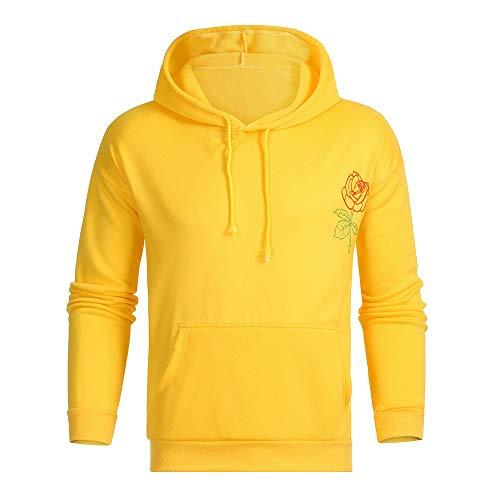 MAYOGO Herren Basic Sweatshirt Gelb Kapuzenpullover Slim fit Tunnelzug Hoodie Kängurutasche Sportpulli (Gelb, L)