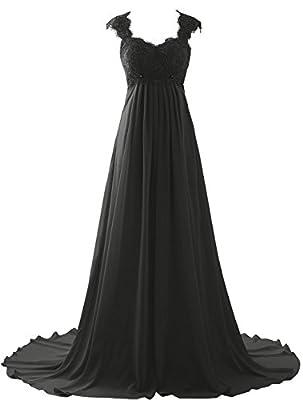 Erosebridal Empire Waist Beach Wedding Dress Lace Chiffon Prom Dress Gowns Size 2 Black