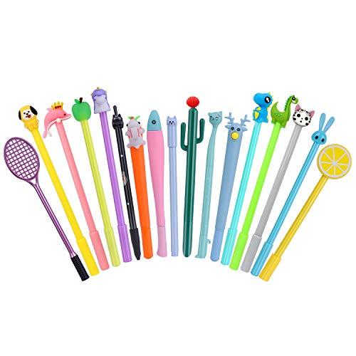 RECHENG cute cartoon Animal black ink pens,fun kawaii journaling bulk gel pens for kids office school supplies -17 Styles