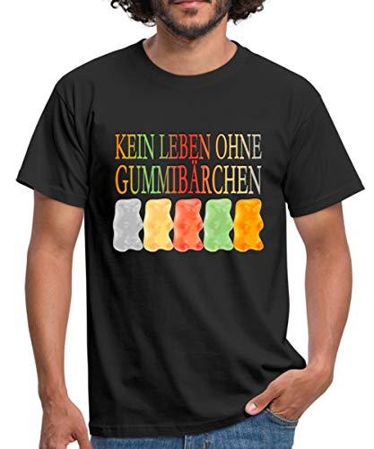 Süßigkeiten Kein Leben Ohne Gummibärchen Männer T-Shirt, XL, Schwarz
