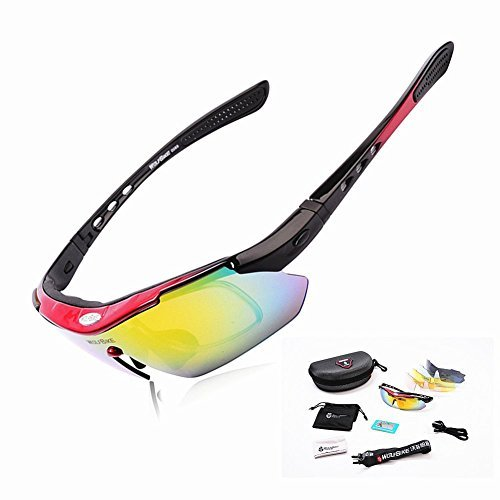 WOLFBIKE Sports Cycling Sunglasses for Men Women Cycling Riding Running Glasses (Red)