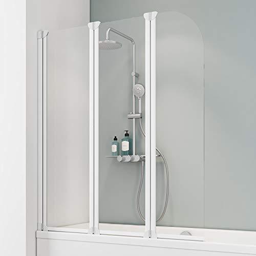 Schulte EP1654 04 50 Komfort Duschabtrennung für Badewanne, Alpinweiß, 3-teilig