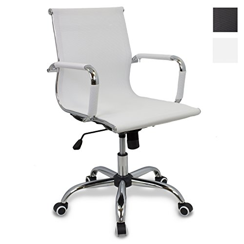 CashOffice - Silla de Oficina, Silla de Escritorio Giratoria y Regulable en altura (Varios Colores) (Blanco)