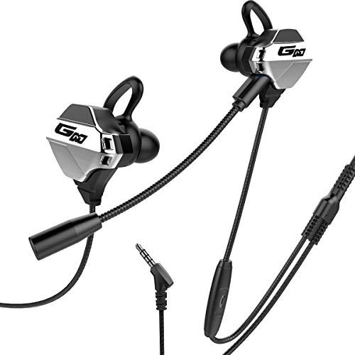 LancaTune Gaming Earbuds with mic in-Ear Gaming Headset with 3.5mm Jack Dual Microphones Design Noise Cancelling for Mobile Gaming, Nintendo Switch, Xbox One, PS4, PS4 Pro, Laptop, PC- Black/Silver