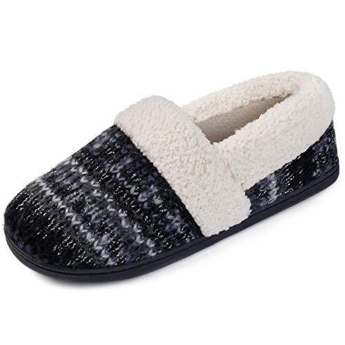 RockDove Women's Nordic Slipper with Memory Foam, Size 7 US Women, Frosted Black