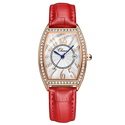Mujeres Moda Relojes, L'ananas Numerales arábigos Date Display Rhinestone Forma del Cubo Banda de Cuero Relojes de Pulsera Women Fashion Watches (Rojo)