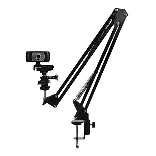 YUSWPX Soporte de cámara Web Soporte de cámara Flexible Fuerte con Soporte de teléfono Rotación de 360 Grados Plegable Soporte de Metal Soporte de Escritorio (Color : Black)