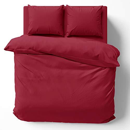Alreya Mako Satin Solo la Funda de edredón - 100% algodón - 200 x 220 cm Rojo - Solo la Funda nórdica con Cremallera