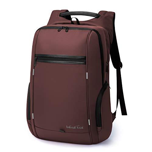 Wind Took 17 Zoll Laptop Rucksack Herren Reiserucksäcke mit USB-Ladeanschluss Anti Diebstahl für Business Schule Uni Groß, 33 x 18 x 49, Rot
