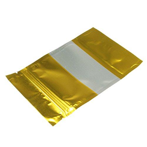 MJJEsports 100 stks Goud Aluminium folie Stand Up Tassen Zip Lock Mylar Tassen Met Raam Voedsel Grade
