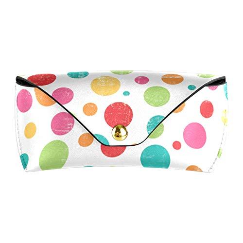XiangHeFu Bolso de las gafas portátiles de cuero de la PU Funda de gafas de sol multiusos con lunares coloridos